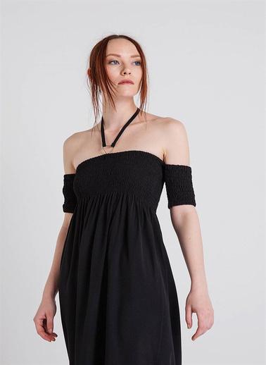 Xtsy Kayık Yaka Uzun Elbise Siyah